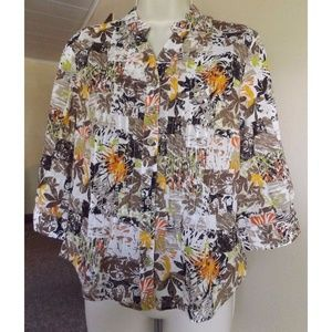 Semi Sheer Floral Pintuck Blouse